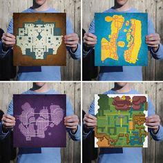 Art prints based on favorite video game level maps!