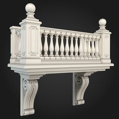 Balcony 001 by ThemeREX High quality polygonal model of balcony.max Max 2010 for separate models .max Max 2010 for the scene, Neoclassical Architecture, Classic Architecture, Facade Architecture, Architecture Awards, Classic House Exterior, Classic House Design, House Outside Design, House Front Design, Railing Design
