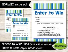 NORWEX Inspired | Enter to Win | Door Prize | Drawing Slip | Raffle Ticket | Guest Survey | Contest Form | Direct Sales | Vendor Shows by BizzyBeeCreative on Etsy