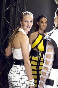 runwayandbeauty: Rosie Huntington-Whiteley and Joan Smalls - Backstage at Balmain Spring 2015 White Lotus, Joan Smalls, Rosie Huntington Whiteley, New Fragrances, Spring 2015, Daily Wear, Backstage, Georgia, How To Wear