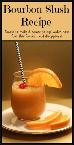 This Bourbon Slush is a frozen drink that everyone will LOVE. Simple to make and easier to sip; watch how fast this frozen treat disappears! Cocktails For Parties, Frozen Cocktails, Summer Drinks, Fun Drinks, Alcoholic Drinks, Dessert Drinks, Holiday Cocktails, Party Drinks, Mixed Drinks