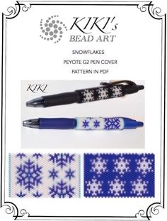 Pattern, peyote pen cover patterns- snowflakes peyote pattern set of 2 for pen wrap - for G2 pen by Pilot- in PDF instant download