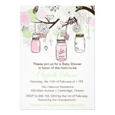 Baby Shower Invitation with feminine and cute illustrations of brown, pinks and mint green mason jars, flowers, heartstrings and lovebirds. Ideal for a baby girl baby shower
