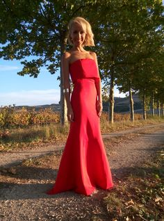 Vestido Strapless largo rojo
