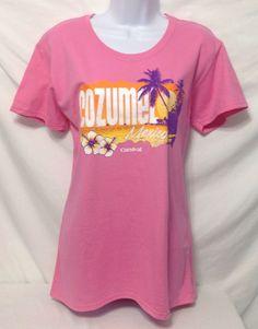Carnival Cozumel Mexico Womens Sz XL Cruise Shirt Azalea Pink Beach Sunset Palms #Gildan #GraphicTee