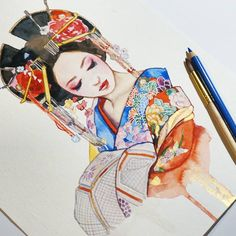 Drawing no 4 of my Geisha series! This lady is probably an Oiran, another form of Japanese entertainers. For foreigners of the Japanese culture it's difficult to distinguish the different types of courtesans. Painting these beautiful patterns and the incredible hair pieces makes me so happy and I think I need to make an oil painting of a Geisha as well and maybe an elaborate watercolor piece with a flowery background! IMPORTANT: please don't miss this month art surprises! I'm gonna ...