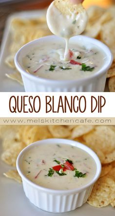 This queso blanco dip is so creamy, so smooth and perfectly melted.