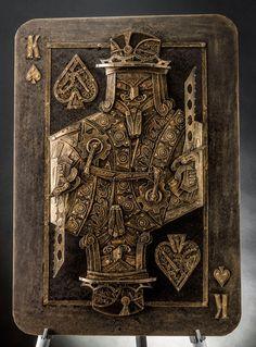Vintage Steampunk Sculptures Made of Cardboard King of Spades