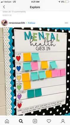 Erin Castillo, an educator at John F. Kennedy High School in Freemont, California, created a mental health check-in chart for her students. education Clever teacher's mental health check-in chart inspires educators to create their own Middle School Classroom, Future Classroom, Middle School Science, Mental Health Check, Mental Health In Schools, Bulletins, Classroom Design, Teacher Classroom Decorations, Dorm Door Decorations