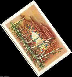 C023 NO SANTA CHURCH CROSSES STAINED GLASS WINDOW TREE CHRISTMAS 1916 POSTCARD  #Christmas
