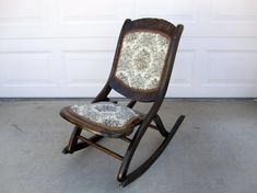 Antique Mahogany Folding Rocking Chair With Floral Patterned Seat And Back