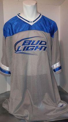 hot sale online a5a33 2a71c bud light xxl football jersey gray blue 100% polyester.   eBay