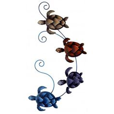From their start on the beach and right to your wall these beautiful 4 Turtles look great in any decor.