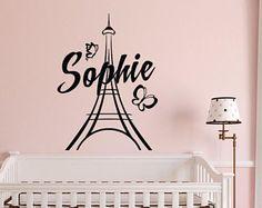 Paris personnalisé mural Stickers autocollants en vinyle de FabWallDecals - fille nom Wall Sticker Paris thème chambre-Tour Eiffel Wall Decal M067