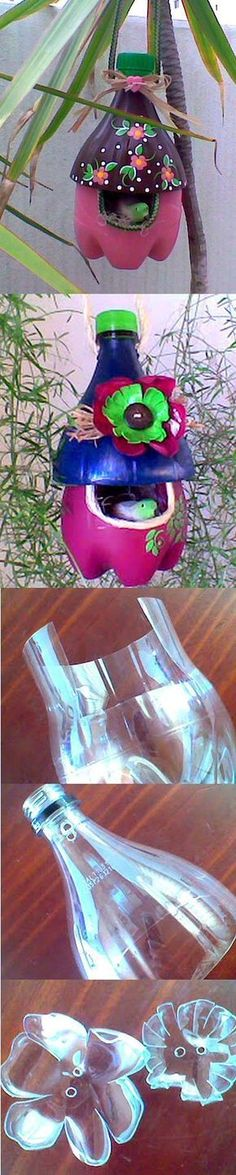 DIY Easy To Make Plastic Bottle Bird House Fairy Crafts, Garden Crafts, Fun Crafts, Garden Art, Arts And Crafts, Garden Tips, Recycled Crafts, Diy Craft Projects, Cool Art Projects