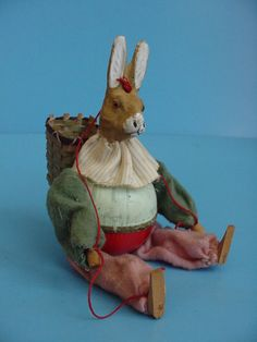 """Rare Antique German Compostion Head Easter Rabbit Candy Container 8"""""""