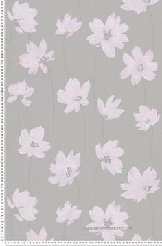 Papier peint Tigella rose taupe  intissé : Papier peint chambre, entrée, pièce à vivre fleurs