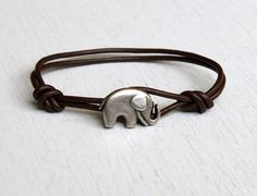 Elephant Leather  Bracelet (many colors to choose) by greenduckweed on Etsy https://www.etsy.com/listing/81995248/elephant-leather-bracelet-many-colors-to
