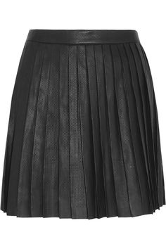 Theory Caon pleated perforated leather skirt