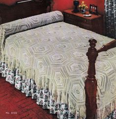 Vintage Crochet Pattern for Bedspread Blocks Marguerite Textured with Fringe Instant Download PDF Diy Crochet Tablecloth, Pineapple Squares, Long Skirt And Top, Pineapple Crochet, Row By Row, Bedspread, Vintage Crochet, Crochet Patterns, Pdf