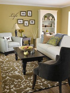 Accent a wall in your living room with wall art -- via @Better Homes and Gardens