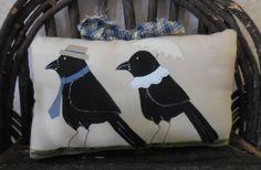 Primitive Folk Art Mr & Mrs Crow Pillow Tuck by auntiemeowsprims