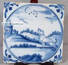 Antique Delft Tile Barking Dog Tiles photo