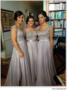 Wholesale Bridesmaid Dress - Buy Silver Chiffon Lace Custom Made 2014 New  Big Discount Cap Sleeve Long Bridesmaid Dresses Formal Dresses wit. c23b87b6a053