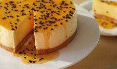 This is a classic no-bake mango cheesecake with a sweet passionfruit sauce. It is perfect for entertaining and so easy even the kids can help you make it.