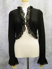 Cross Arch Frill Bolero Black x Black Lace. See more at http://www.cdjapan.co.jp/apparel/mmm.html #gothic #lolita