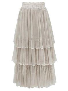 #AdoreWe #TBDress TBDress High Waist Plain Pleated Ankle-Length Womens Cupcake Skirt - AdoreWe.com