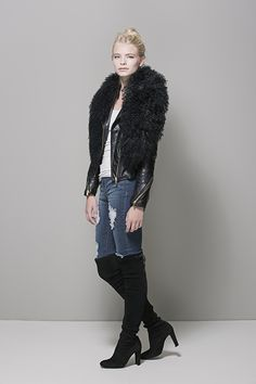 """HCT Mongolian """"Wear 3 Ways"""" Shawl as jacket or coat collar in Onyx available here: http://heathercampbelltextiles.com/collections/furs"""