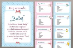 Games and decoration for the baby party as a set-Games and decoration for the baby party as a set Spiele und Deko für die Babyparty als Set Sleepover Party, Baby Party, Babyshower Party, Baby Shower Games, Baby Shower Parties, Baby Boy Shower, Party Decoration, Baby Shower Decorations, Baby Toys