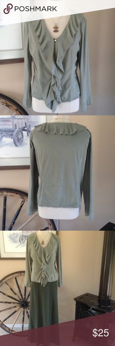 J. Jill top Beautiful sage green button down top. Buttons have eyelet closures. Front ruffle and collar as well. This is a very soft feeling 100% polyester fiber. J.Jill Skirt is also for sale and listed separate in my closet. J. Jill Tops Button Down Shirts