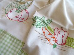 Tea Towels 2 Kitchen Flour sack  Embroidered by StitchesBringHope, $8.50