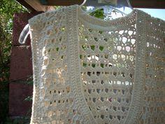 chaleco largo sin mangas, algodón, tejido a crochet