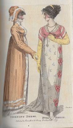 February 1807 Morning Dress & Full Dress Regency Dress, Regency Era, Empire Fashion, Morning Dress, Old Dresses, Empire Style, Parlour, Historical Romance, Antique Prints