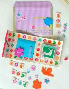Little booklet made of a cardbox - klein mapje van een kartonnen vlaaidoos gemaakt #snailmail #vruijke