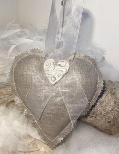 """Coeur coton enduit argenté et gris perle"""" fait main """"... : Accessoires de maison par mode2filles"""