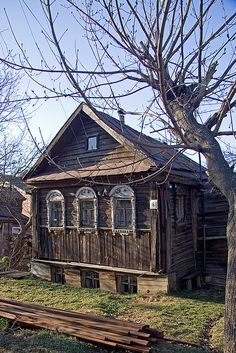 Tiny old house with great windows in Suzdal Russia.