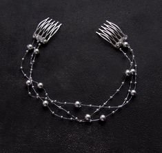 Head Chain Jewelry, Hair Jewelry, Bridal Jewelry, Silver Headband, Silver Hair, Handmade Wire Jewelry, Beaded Jewelry, Pearl Headpiece, Diy Hair Accessories