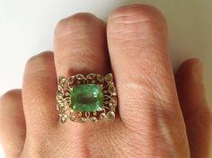 Dalben Green Tourmaline Rose Cut Diamond Gold Fashion Ring image 9