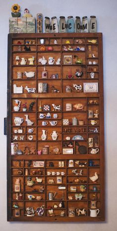 And, yes, they now overflow into the kitchen! And, yes, they now overflow into the kitchen! Box Shelves, Display Shelves, Lego Display, Letterpress Drawer, Printers Drawer, Shadow Box Art, Cabinet Of Curiosities, Print Box, Found Object Art
