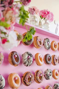 Variety is the spice of life!  Close-up of Kalm Kitchen's donut wall
