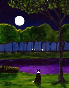 Border Collie Dog Outsider Folk Art PRINT Todd Young MOONLIT POND. $19.95, via Etsy.