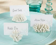 The unique underwater design of Kate Aspen& Seven Seas Coral Place Card/Photo Holders make them an intriguing addition to your wedding. These favors come in stylish coral clusters that can hold a place card or photo. Wedding Favors And Gifts, Beach Wedding Favors, Bridal Shower Favors, Party Favors, Party Gifts, Beach Wedding Ideas On A Budget, Sea Wedding Theme, Wedding Tokens, Wedding Coral