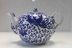 Phoenix Ware Blue Phoenix Birds Tea Pot Japan Fine China Porcelain | eBay
