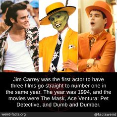 Jim Carrey, Unusual Facts, Interesting Facts, Ace Ventura Pet Detective, Wtf Fun Facts, Crazy Facts, Random Facts, School Memes, New Things To Learn