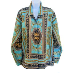 Vintage long sleeve button up blouse, with amazing Versace style Baroque print, in turquoise, navy blue, and gold. Blouse Vintage, Vintage Clothing, Vintage Outfits, Vintage Versace, Printed Blouse, Baroque, Kimono Top, Navy Blue, Turquoise