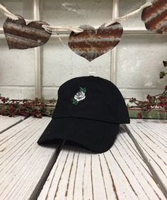 90c4a2bdb6f WHITE ROSE Baseball Hat Curved Bill Low Profile Embroidered